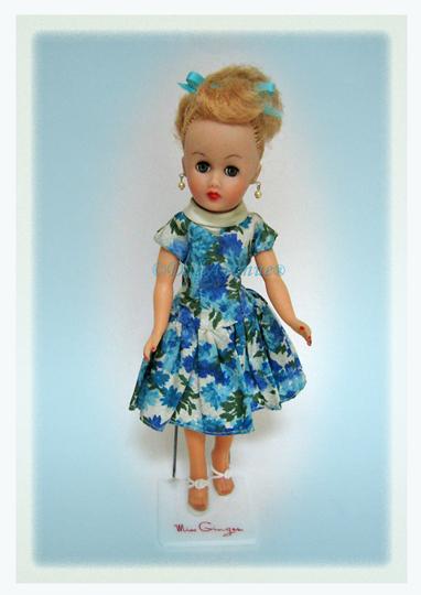 Vintage Miss Ginger in Blue Floral