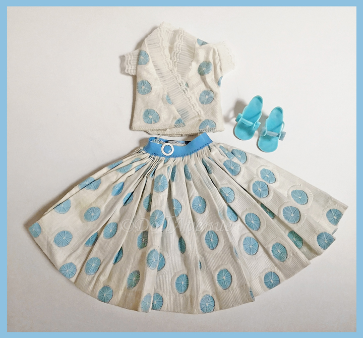 1957 Miss Nancy Ann Blue Dots Outfit #310