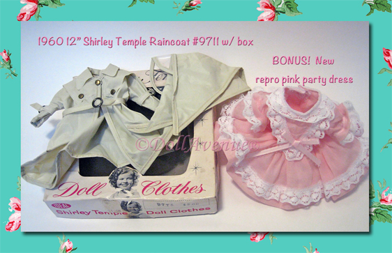 "1960 Ideal 12"" Shirley Temple Raincoat & BONUS!"