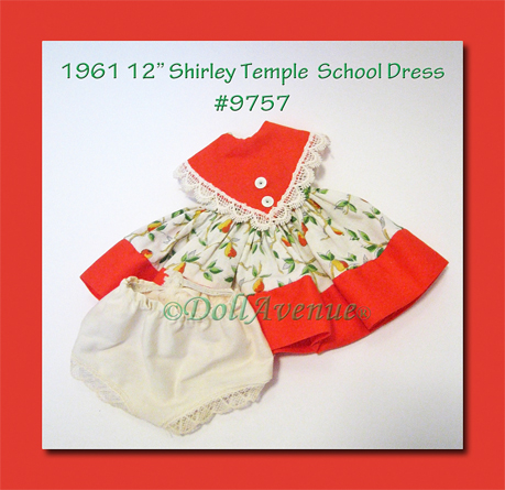 "1961 Ideal 12"" Shirley Temple School Dress MINT"